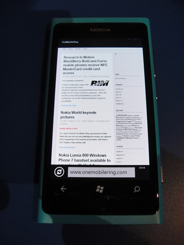 Nokia Windows Phone 7 Lumia 800 – A First Impressions Review